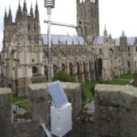 Weather station equipment in place by Canterbury Cathedral